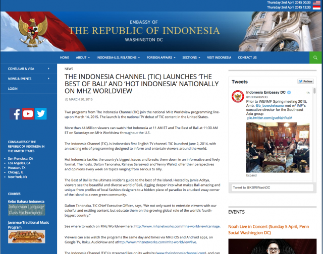 We got mentioned the Indonesian embassy in the U.S.!